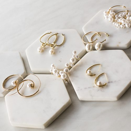 Pearl and Gold wedding earrings