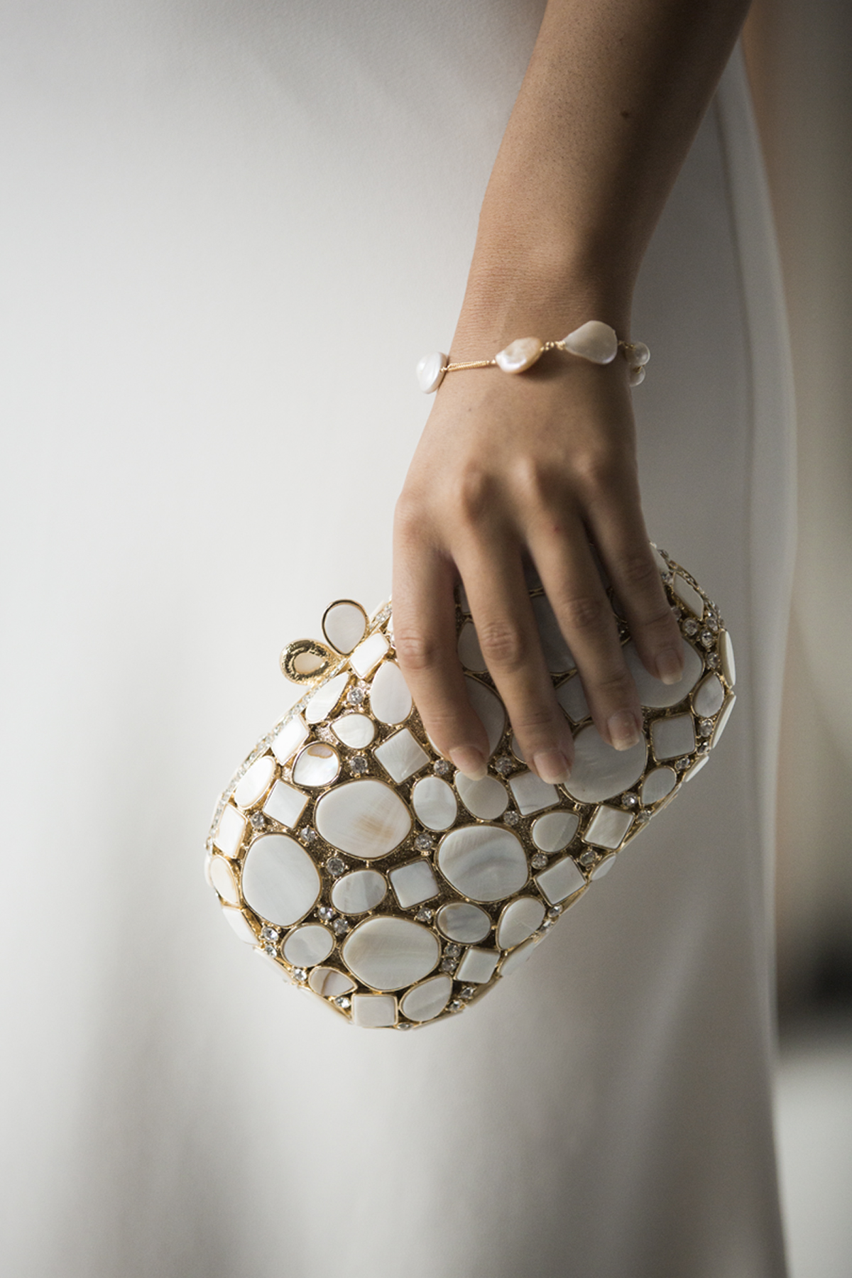 Gold and Shell Bridal Clutch