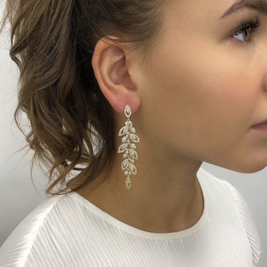 Made of the finest precision cut cubic zircons the quality of these bridal earrings is noticeable at first glance. \nIntricately set crystals are joined together to create this stunning design. \nFinished in allergy and nickel free Gold plating to add to a worry free day.