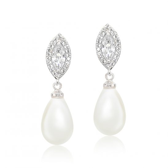 Silver and Pearl Drop earring for bride or bridesmaid
