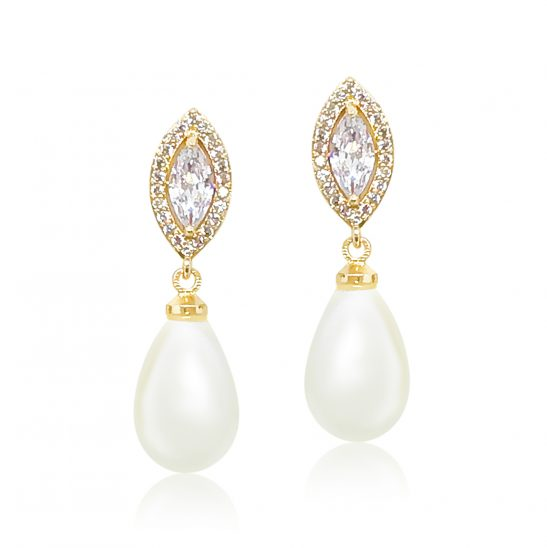 Gold and Pearl Drop earring for bride or bridesmaid