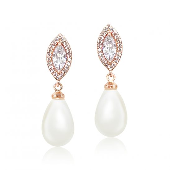 Rose Gold and Pearl Drop earring for bride or bridesmaid