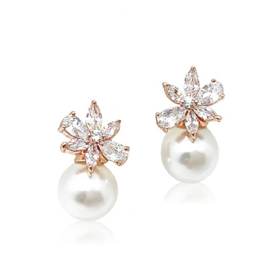 Rose Gold and Pearl Stud earring for bride or bridesmaid