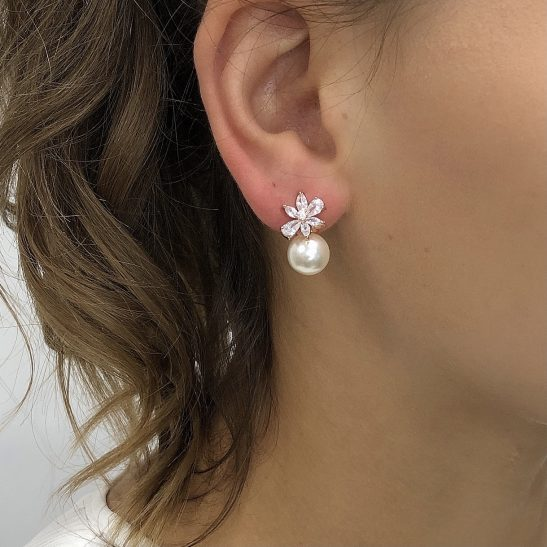 Is there a better combination than crystal and pearl for a bridal earring? nThese pretties have precision cut cubic zircon tops and are evenly balanced with a pearl drop. nAllergy and nickel free, all you need to worry about is how much you'll shine on the wedding day.