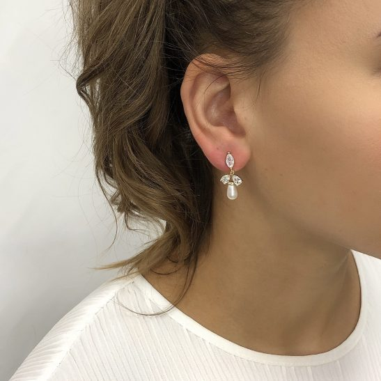 """""""Is there a better combination than crystal and pearl for a bridal earring? nThese pretties have precision cut cubic zircon tops and are evenly balanced with a pearl drop. nAllergy and nickel free, all you need to worry about is how much you'll shine on the wedding day."""""""