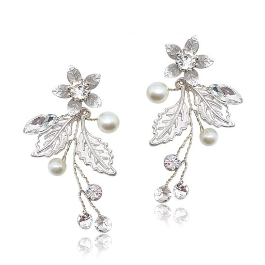 Silver pearl and flower bridal earring modern
