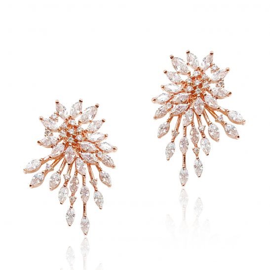 Modern Rose Gold and Crystal Bridal Earring