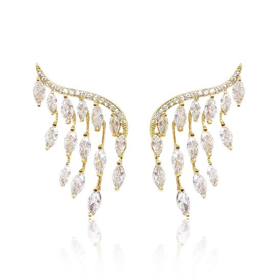 Modern Gold and Crystal Bridal Earring