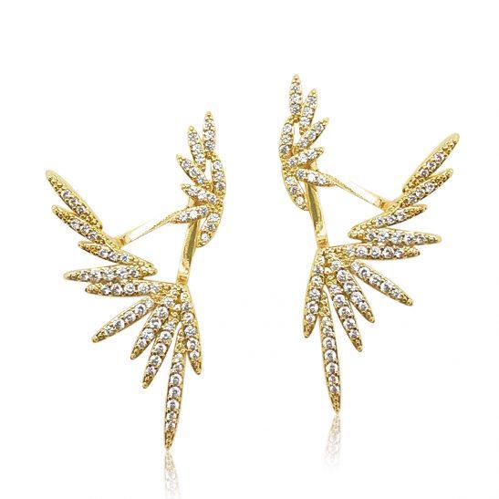 Modern Crystal Waterfall Gold Earring