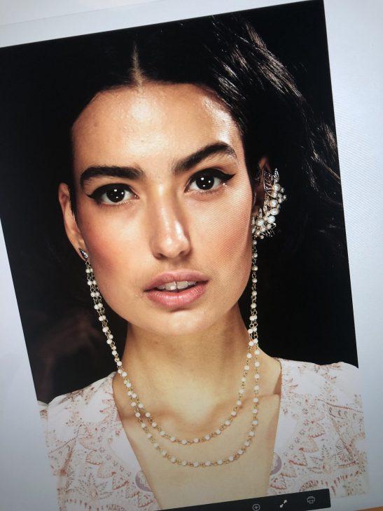 Bridal Ear Cuff with Pearl Chain