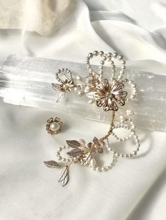 Bridal Ear Cuff Pearl and Gold