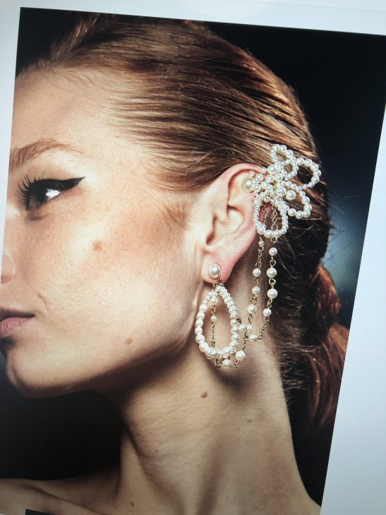 Pearl and Gold Statement Bridal Ear Cuff
