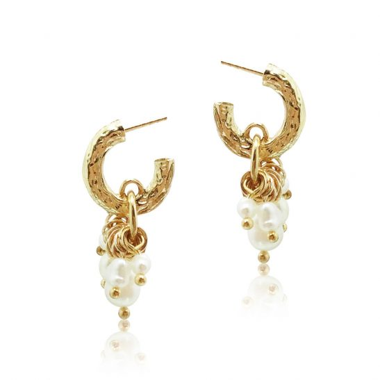 Gold and Pearl Hoop Earring for bride