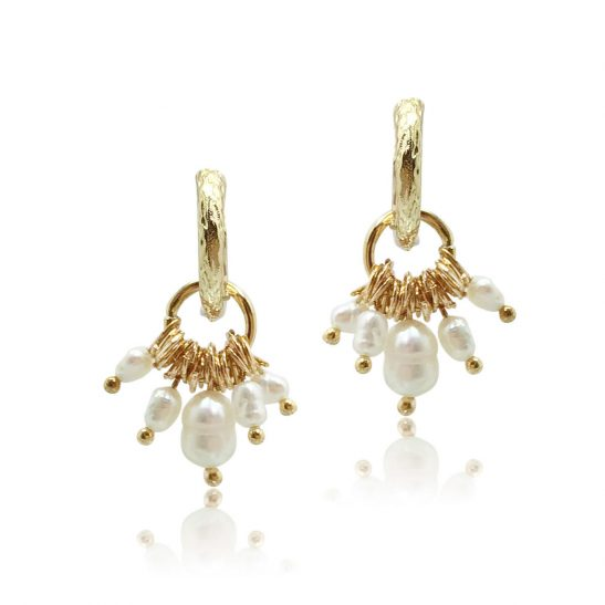 Gold and Pearl Statement Earring for bride