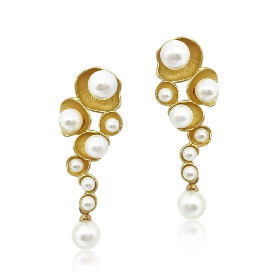 Modern Gold and Pearl Earring for Wedding