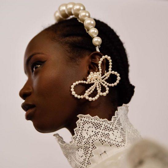 Pearl bow ear cuff bridal