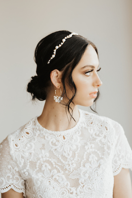 Modern Bridal Hoop Earring and Headband