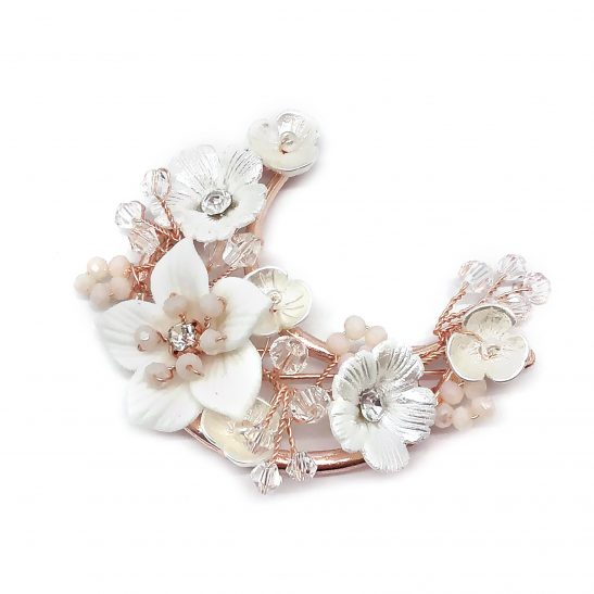 Rose Gold Floral Bridal Headband