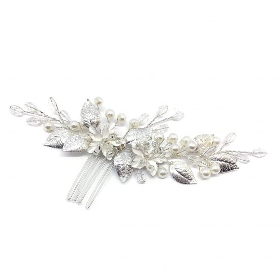 Bridal Hair Comb Silver and Pearl