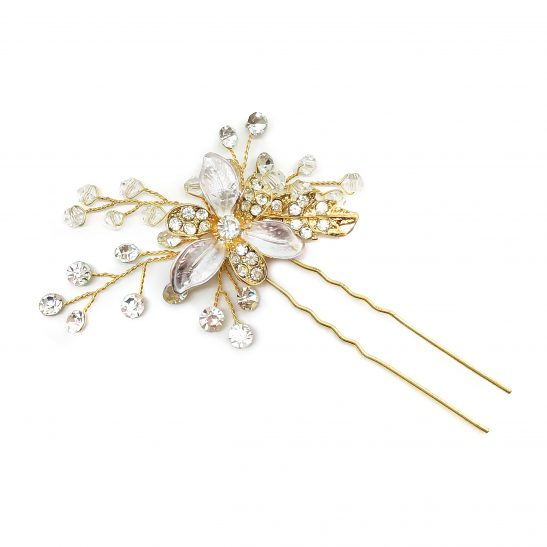 Gold and Crystal Floral Hair pin for wedding