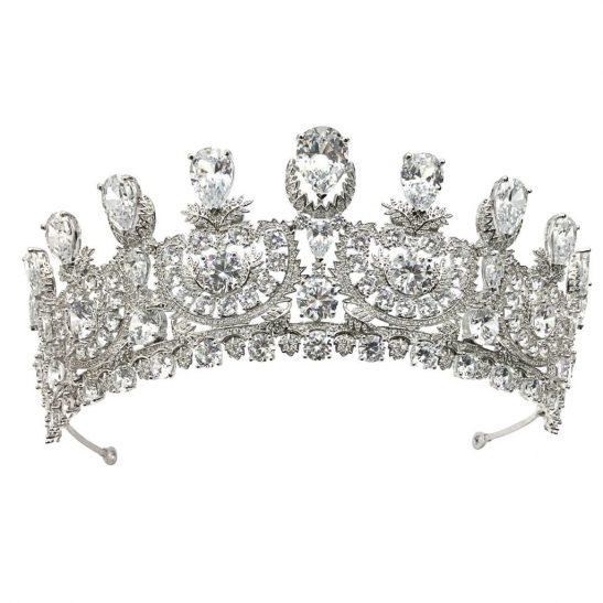 Silver Cubic Zircon Bridal Crown HT1801