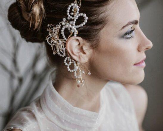 Modern Bridal Ear Cuff with Pearls