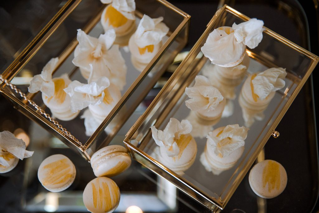 gold and white bridal macaroon
