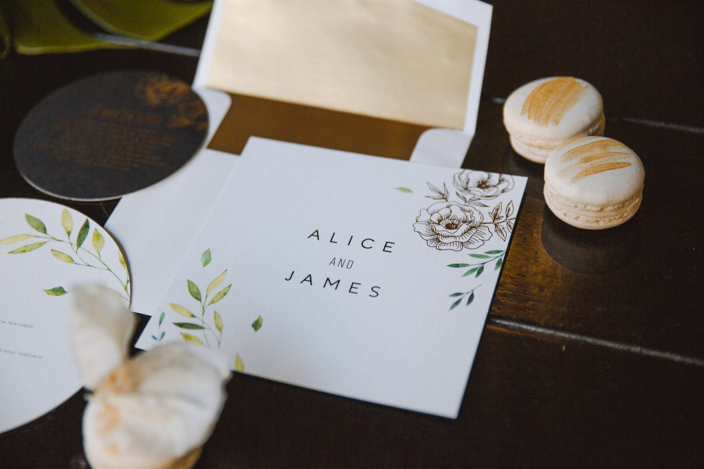 white black and gold wedding stationary