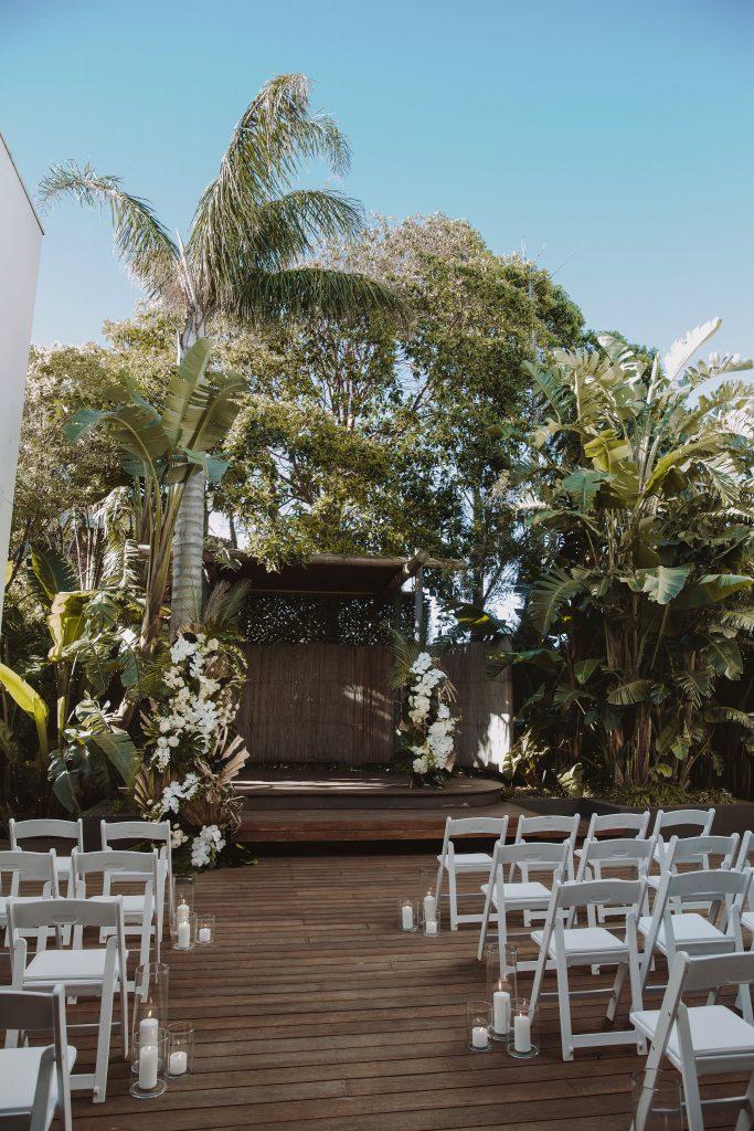tropical wedding arbour
