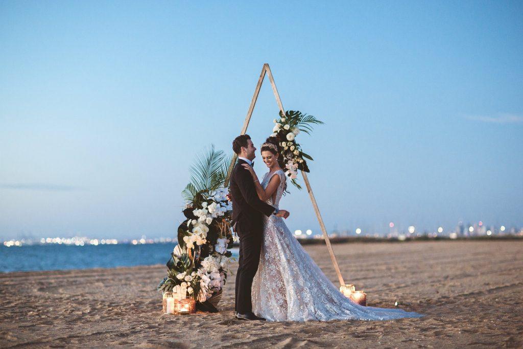 sunset view melbourne beach wedding