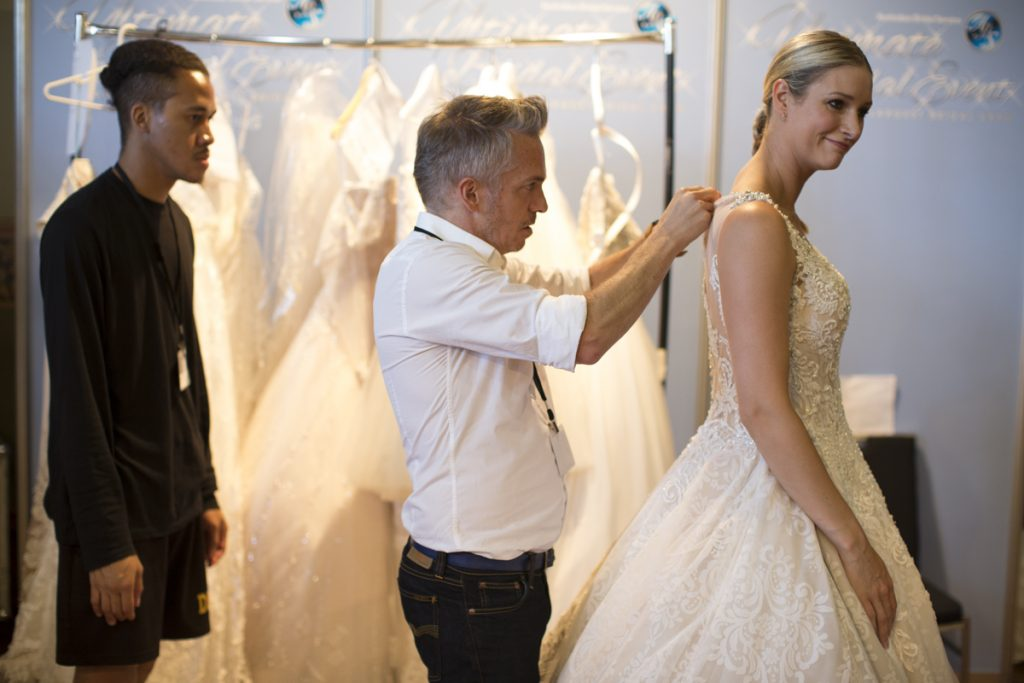 craig braybrook bridal dress back stage at melbourne bridal expo